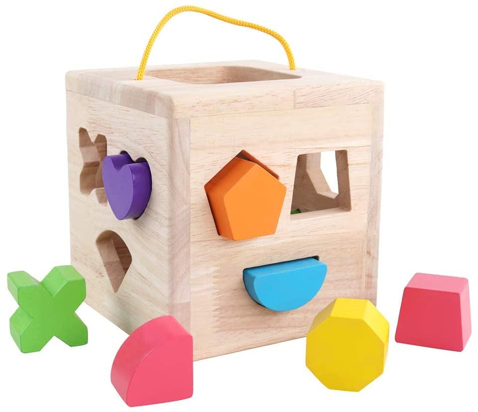 GEMEM Shape Sorter Toy My First Wooden 12 Building Blocks ...