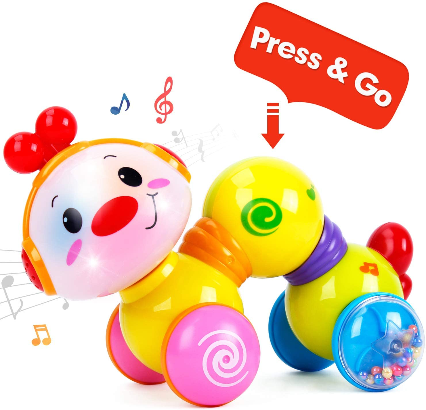 CubicFun Baby Toys Musical Press and Go Inchworm Toy with ...