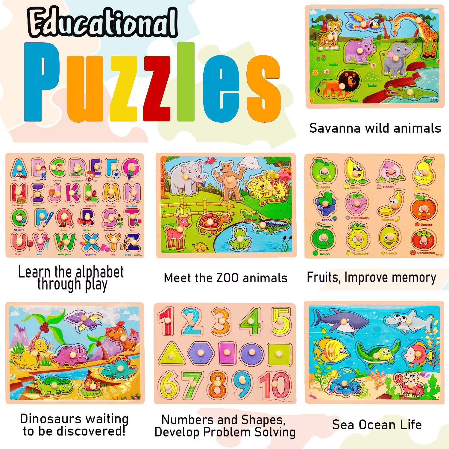 7 Pack Wooden Puzzles for Toddlers 1 2 3 4 Years Old - 7 ...