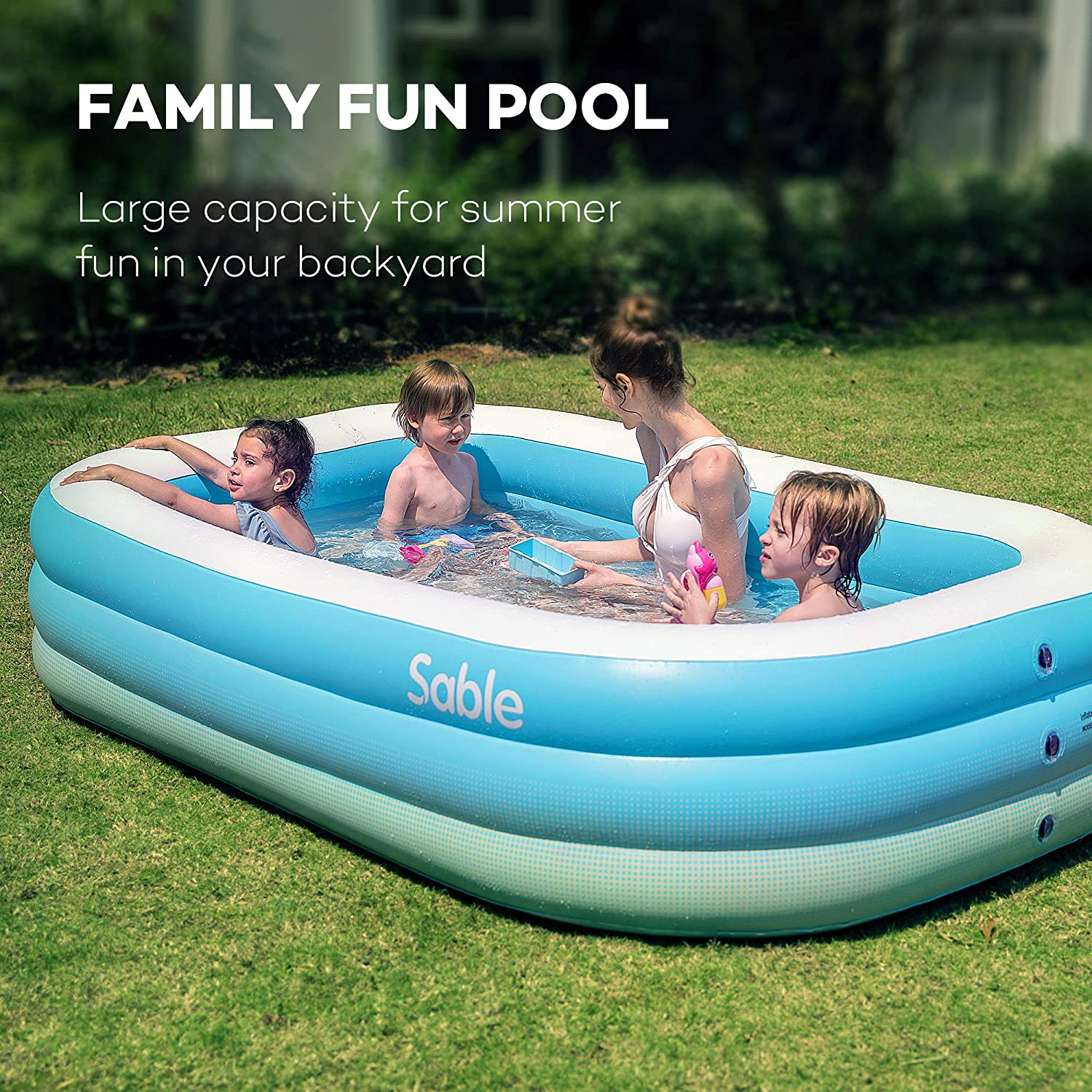 Sable Inflatable Pool, Blow up Kiddie Pool for Family ...